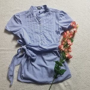 J. Crew blue and white stripped shirt